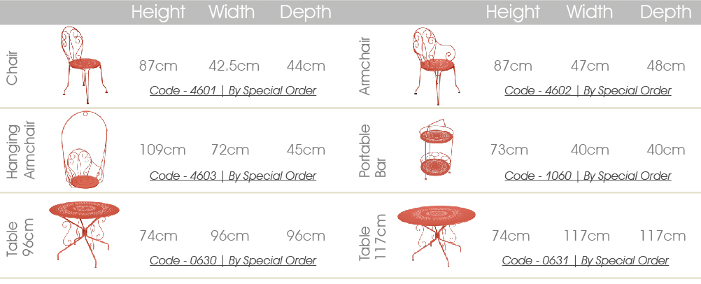 Fermob Montmartre dining specs