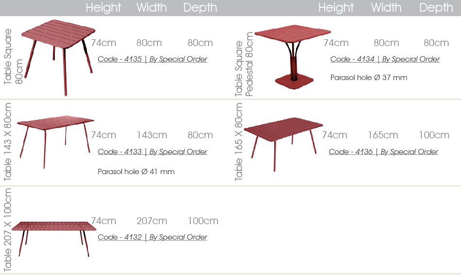 luxembourg dining tables specs