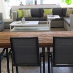 Antibes Dining Armchairs in Charcoal Frame and Silver Black Sling  with Teak Table