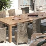 Atlanta dining armchairs and dining chairs with a teak table